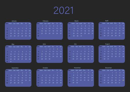 Vector calendar for 2021 year. Day planner the scheduler in this minimalist for print on a black background. Vector