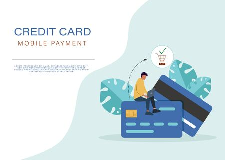 Banking concept illustration of man sitting on credit cards and using mobile smart phone for online banking and accounting. Flat men and women with credit cards. Vector Ilustração