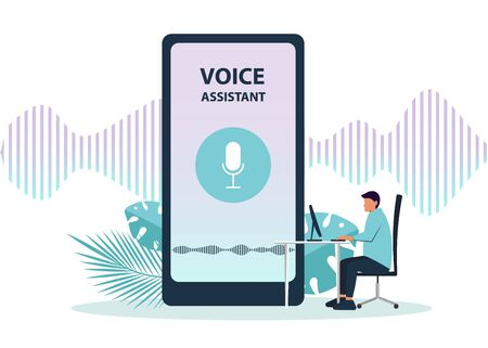 Male character using voice control for his phone. Isolated vector illustration of voice remote with character and phone. Illustration