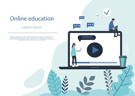Online education flat illustration. Online Education background, E-Learning, E-Library via Digital Device. Educational Application, Video Tutorials. Cartoon students Use Laptop and Wi-Fi. Electronic background. Vector Flat illustration. Ilustração