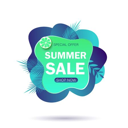 Summer sale banner template. Liquid summer bubble with tropic leaf. Tropical background and backdrop. Promo badge for seasonal offer, summer promotion, advertising. Vector summer set background. Ilustração