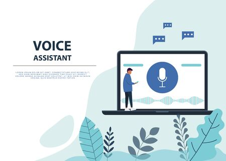 Male character using voice control for his phone. Voice assistent. Isolated vector illustration of voice remote with character and phone. Voice recognition. Vector Ilustração