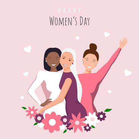 Happy womens day illustration. March 8, International Women's Day. 8 march, Women's Day background, banners, Women's Day flyer, design. Happy girls hugging. African american woman. Love between the girls. 8 march, womens day. Vector illustration