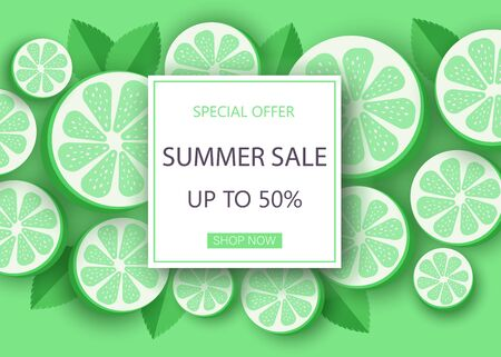 Summer lime sale banner template. Liquid summer bubble with tropic leaf. Tropical background and backdrop. Promo badge for seasonal offer, summer promotion, advertising. Vector summer set background.