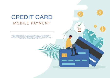 Online mobile payment or money transfer concept. E-commerce market shopping online illustration with tiny people character. Online template for web landing page, web banner, web presentation, social media, web print media.