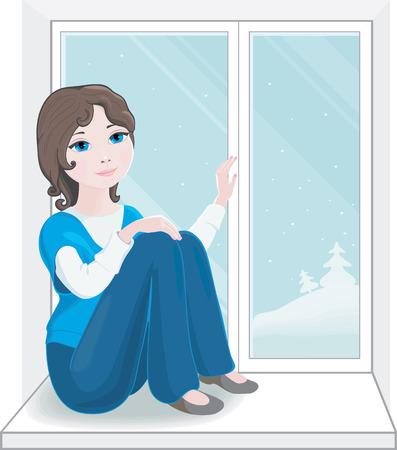 Pretty Girl sitting on the windowsill of a new window