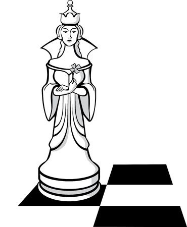 imperious: The White Chess Queen on a chessboard Illustration