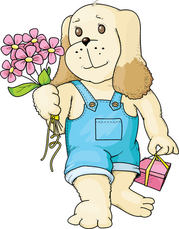 whelps: The Puppy with a bouquet Illustration
