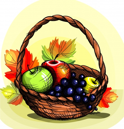 apples basket: Basket with fruit.