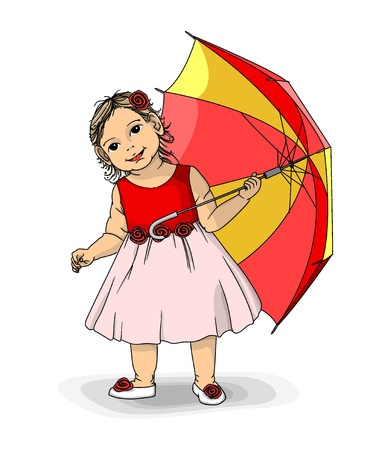Girl with umbrella. Vector illustration. Stock Vector - 15234960