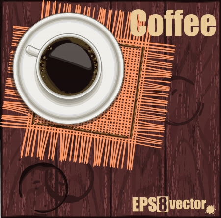 Cup of coffee with beans on a napkin  Stock Vector - 15234966
