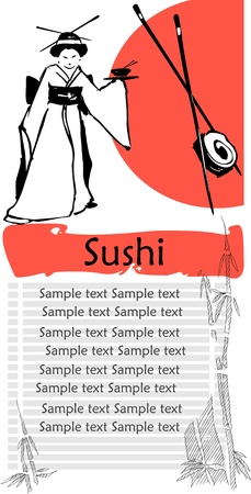 japanese cuisine: A sushi menu template with space for text