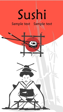 illustration of a sushi menu template with space for text   Illustration