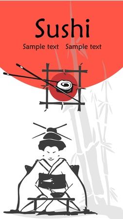 donna giapponese: illustrazione di un modello di sushi menu con spazio per il testo