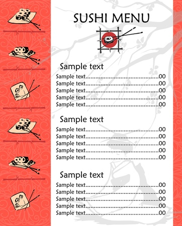 seafood dinner: illustration of a sushi menu template with space for text  Illustration