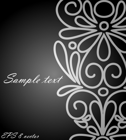 black lace: Abstract flowers background with place for your text Illustration