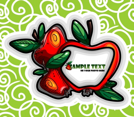 Green label with red apples Vector
