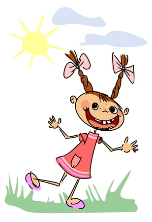 Funny girl runs across the grass and smiling Stock Vector - 15251734