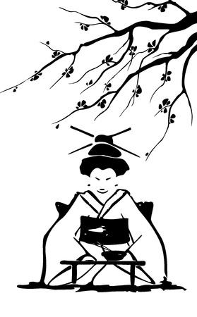 Geisha und sakura Standard-Bild - 15251718
