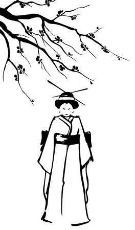 geisha kimono: Geisha and sakura