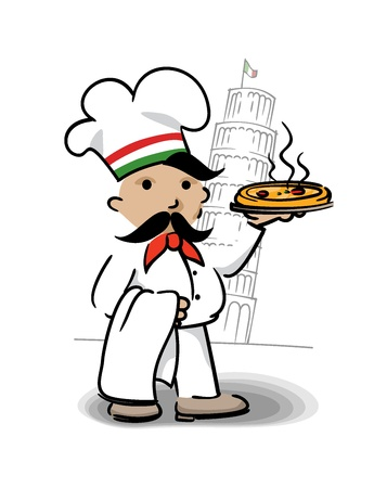 Italian chef with pizza  Vector
