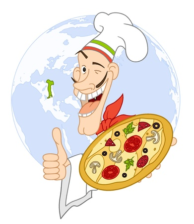 representations: Chef with pizza on the background of the Earth