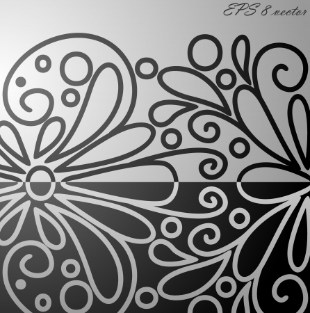 Black and white floral pattern  Vector