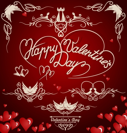 Decorative elements on Valentine s Day   Vector