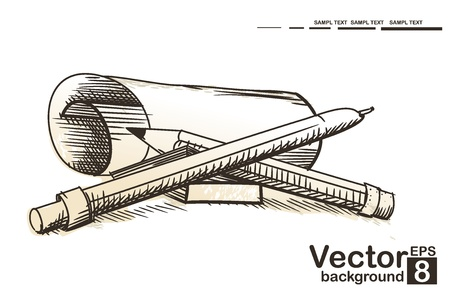 Paper with pen and pencil  Vector illustration Vector