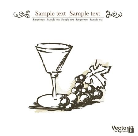 Grape and wine  Vector illustration Stock Vector - 15311091