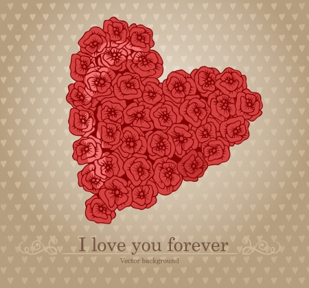 Heart with flowers I love you  Vector illustration   Vector