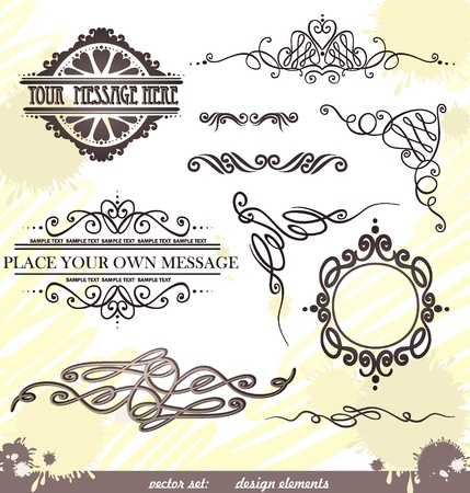 Vector decorative ornate design elements   calligraphic page decorations  Vector
