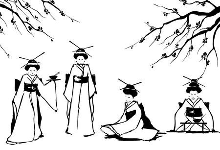 kimono: Geisha y la ilustraci�n vectorial sakura Vectores