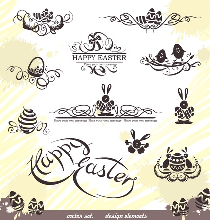 Happy Easter vector set  design elements   Vector
