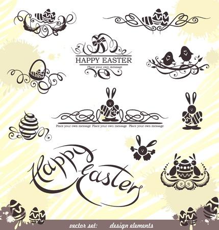 Happy Easter vector set  design elements
