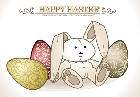 gold egg: Bunny With Easter Eggs  Vector illustration
