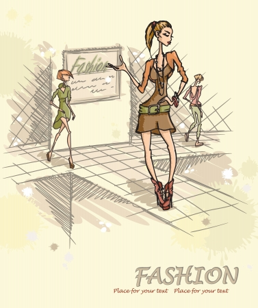 Fashion model on podium. Vector