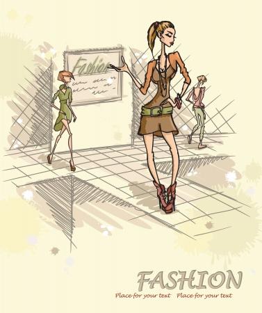 catwalk model: Fashion model sul podio.