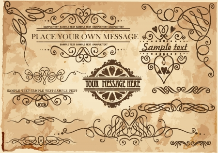 decorative ornate design elements, calligraphic page decorations. Vector