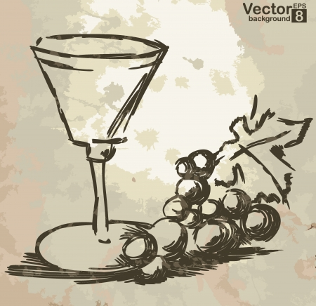 winery: Glass with wine and grapes vine on grunge background.