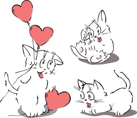Friendly cartoon cats holding a big heart and balloon. Stock Vector - 16911689
