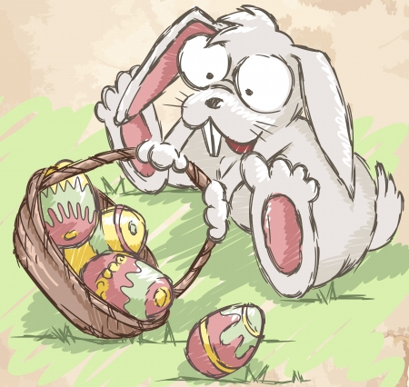 A cute Easter bunny sitting near Easter eggs basket. Vector
