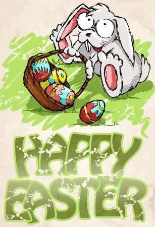 A cute Easter bunny sitting near Easter eggs basket. Stock Vector - 16912213