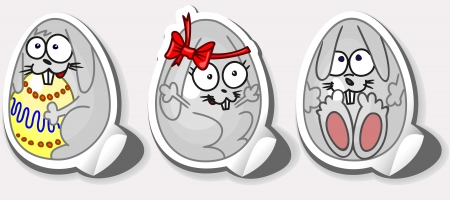 Happy Easter stickers. Rabbit in the egg. Stock Vector - 16911867