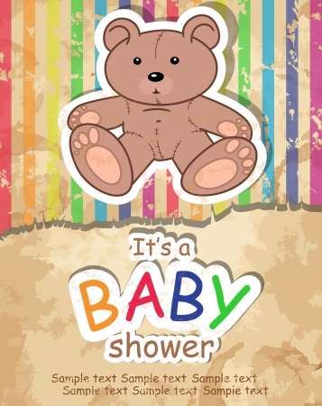 Baby s postcard with bear Vector