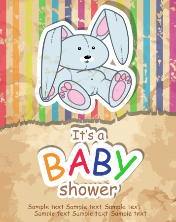 Baby s postcard with bunny Vector