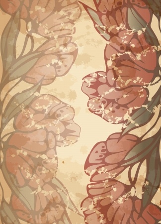 Stylish floral background, retro flowers. Vector