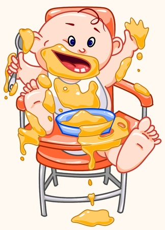 hungry kid: Baby eats. Illustration