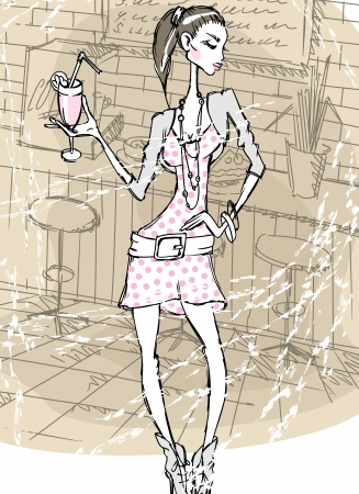 The girl with a drink at restaurant. Vector