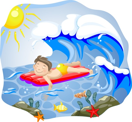 Boy swimming. Vector